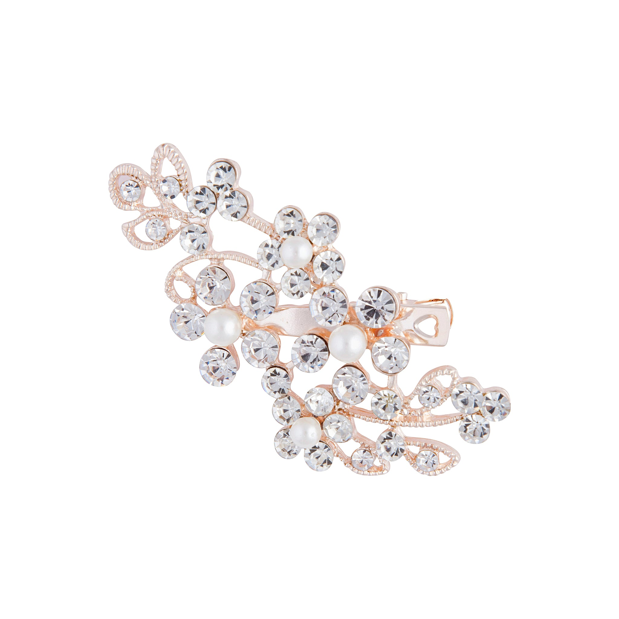 Rose Gold Floral Crystal Pearl Hair Clip