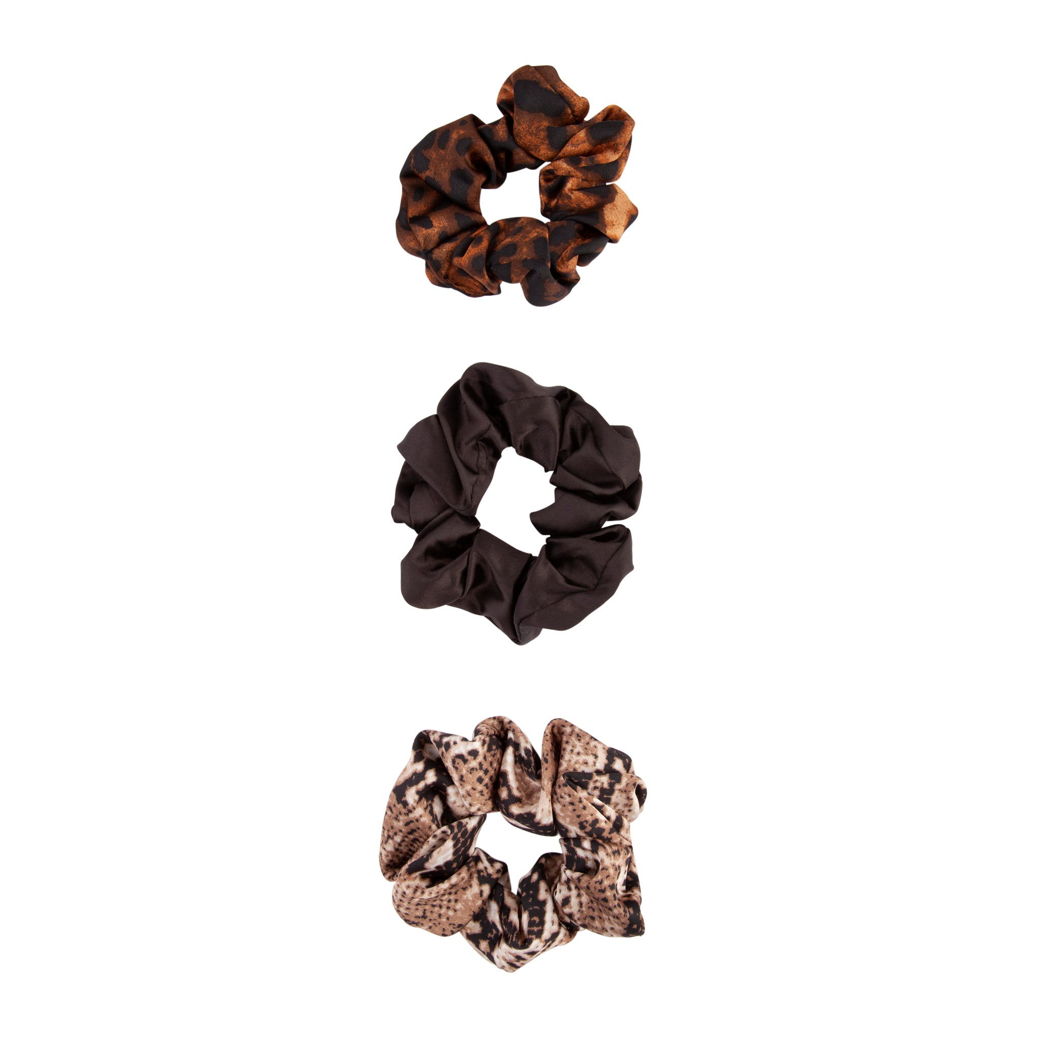 Fabric Animal Print Scrunchie Trio Set