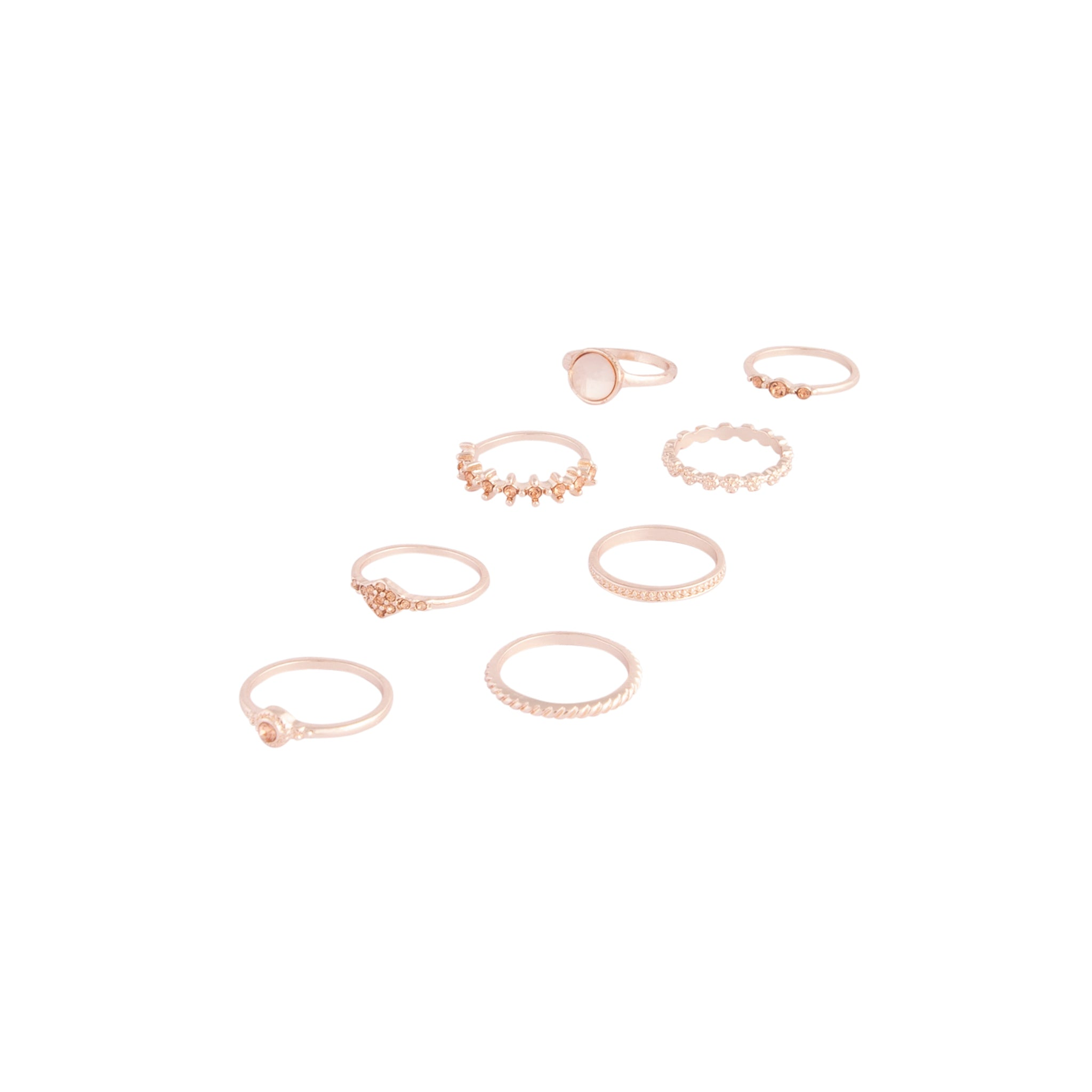 Rose Gold Glam Diamante Stone Ring Pack
