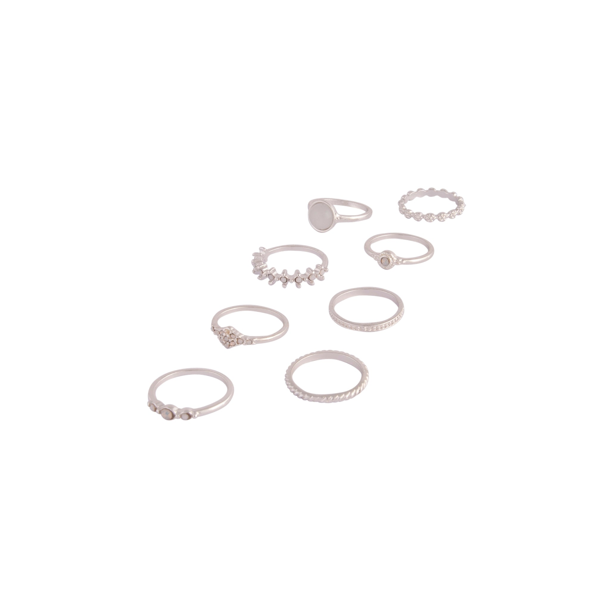 Silver Glamorous Diamante Ring 8 Pack