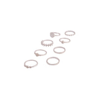 Silver Glamorous Diamante Ring 8 Pack - link has visual effect only