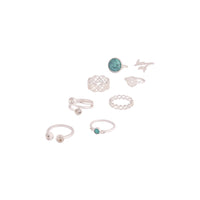 Silver Turquoise Stone Leaf Ring Pack - link has visual effect only