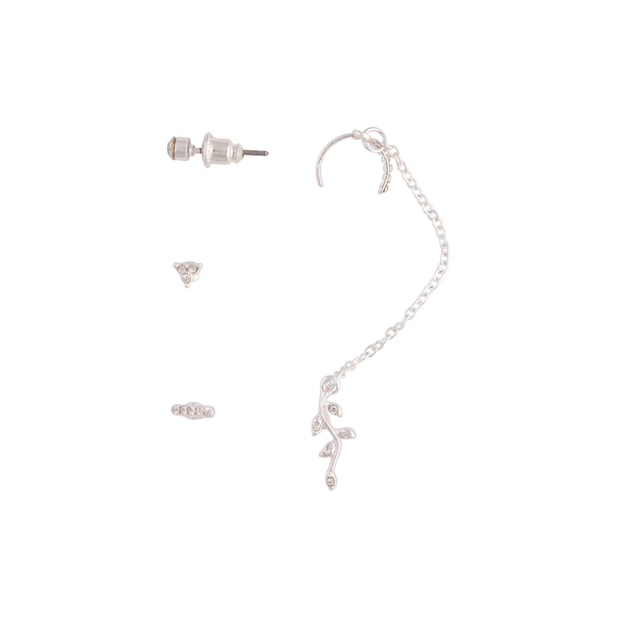 Silver Flower Chain Cuff Earring