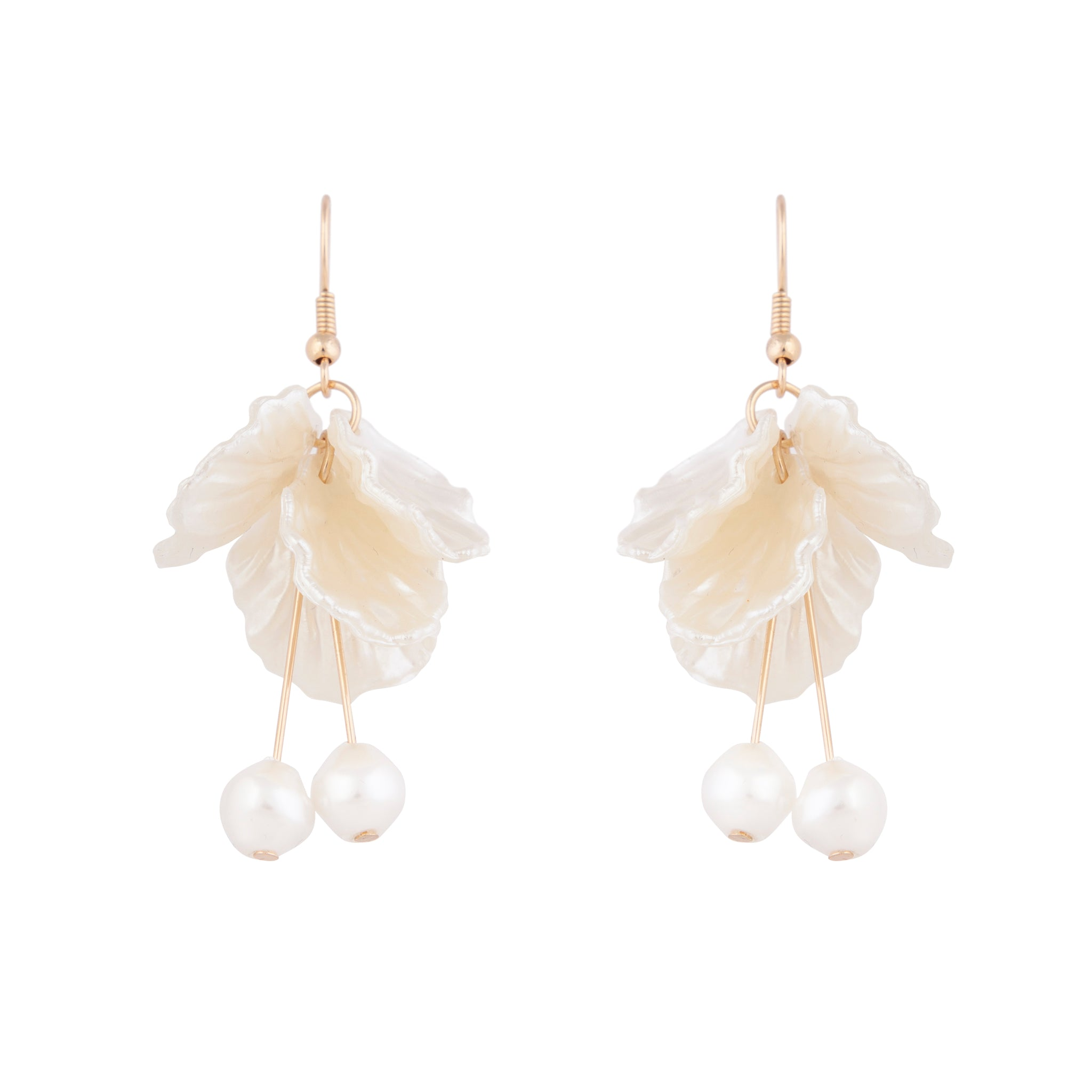 Gold White Delicate Cloud Drop Earrings