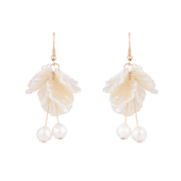 Gold White Delicate Cloud Drop Earrings - link has visual effect only