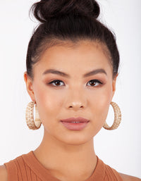 Brown Raffia Chunky Hoop Earring