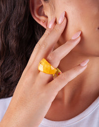 Mustard Acrylic Faceted Ring