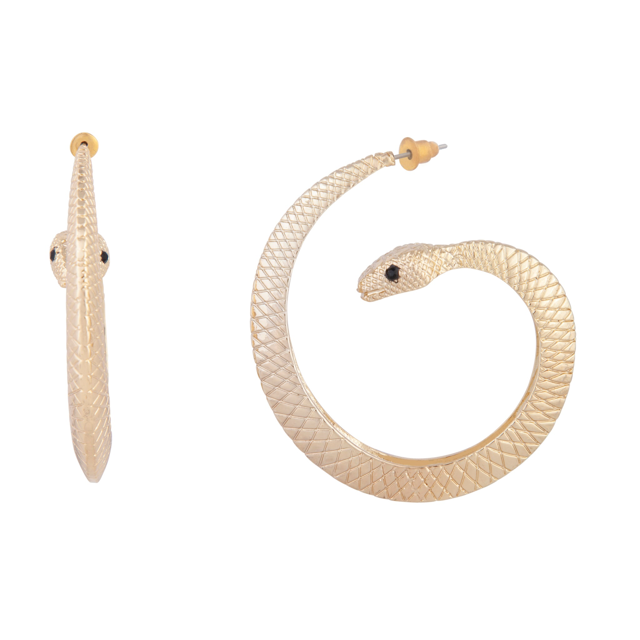 Gold Texture Snake Statement Earring