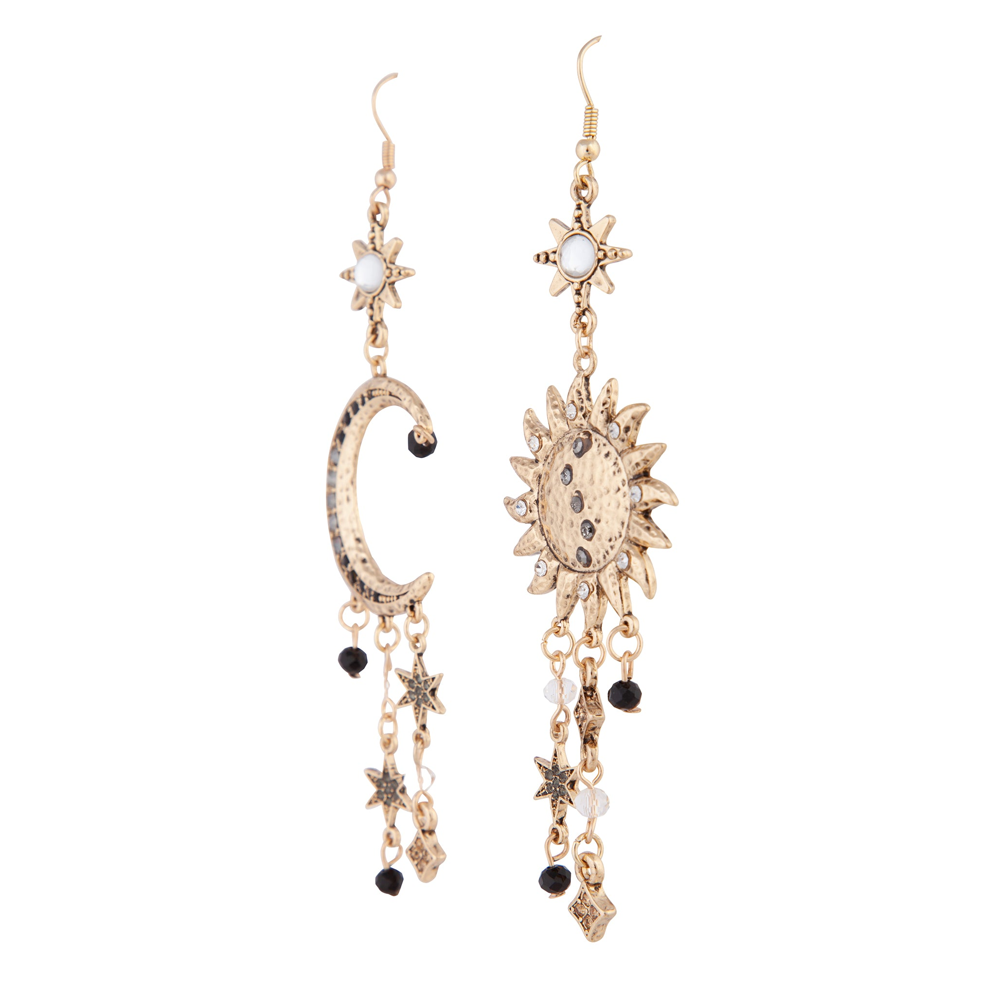 Antique Gold Celestial Grey Black Gem Earring