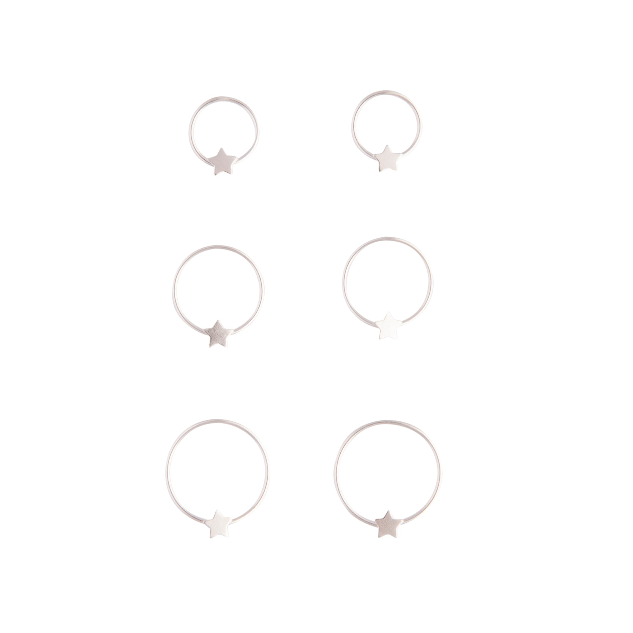 Sterling Silver Star Gradual Nose Ring 3 Pack