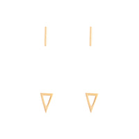 Gold Plated Bar Geo Triangle Earring 2 Pack