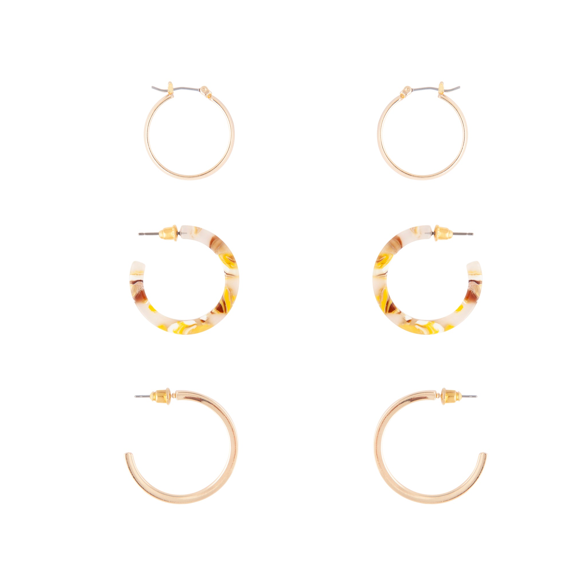 Gold Acrylic Metal Hoop Earring 3 Pack