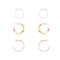 Gold Acrylic Metal Hoop Earring 3 Pack - link has visual effect only