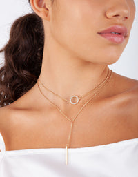 Gold Circle Diamante Choker Trio