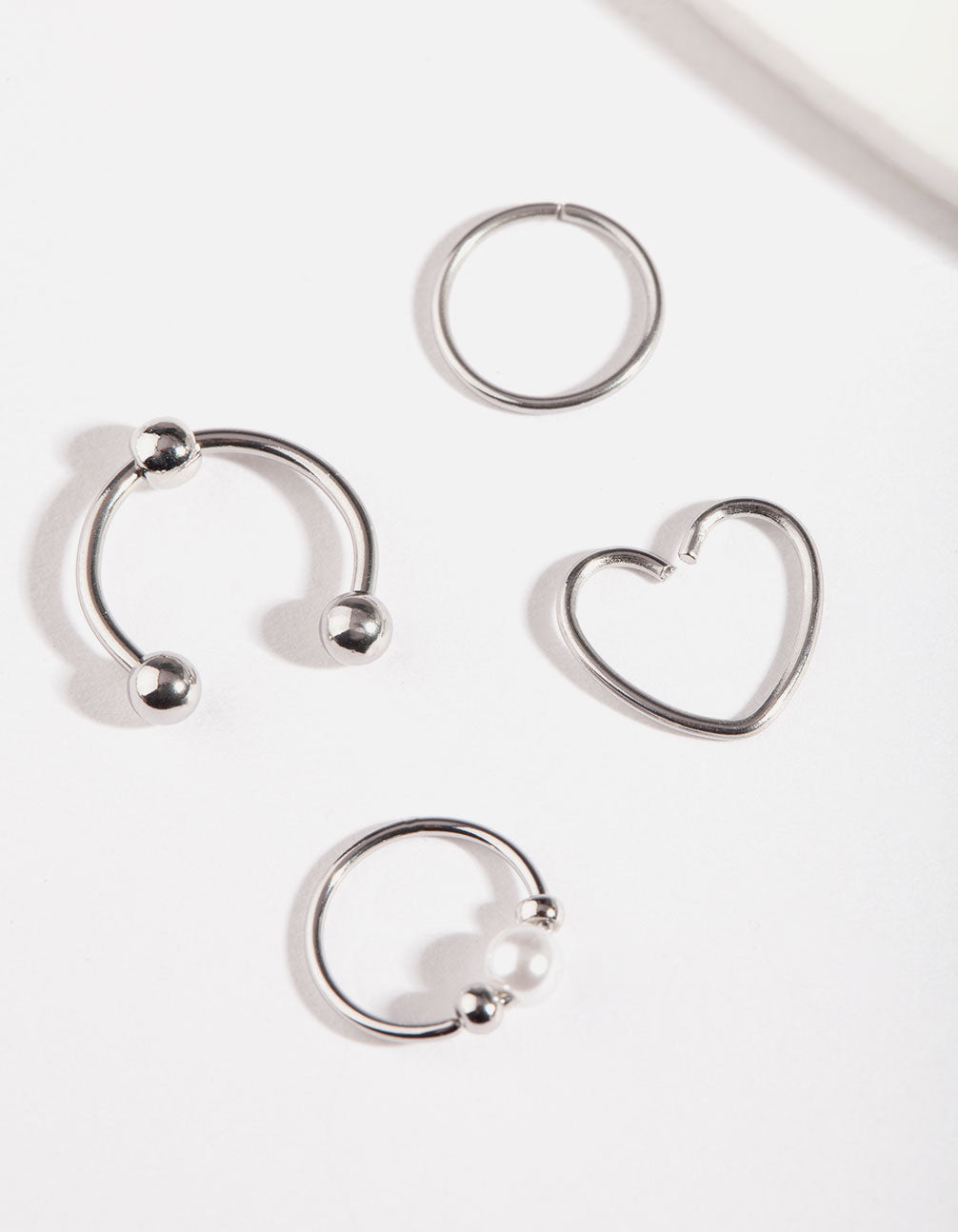 Rhodium Cartilage Ring Pack