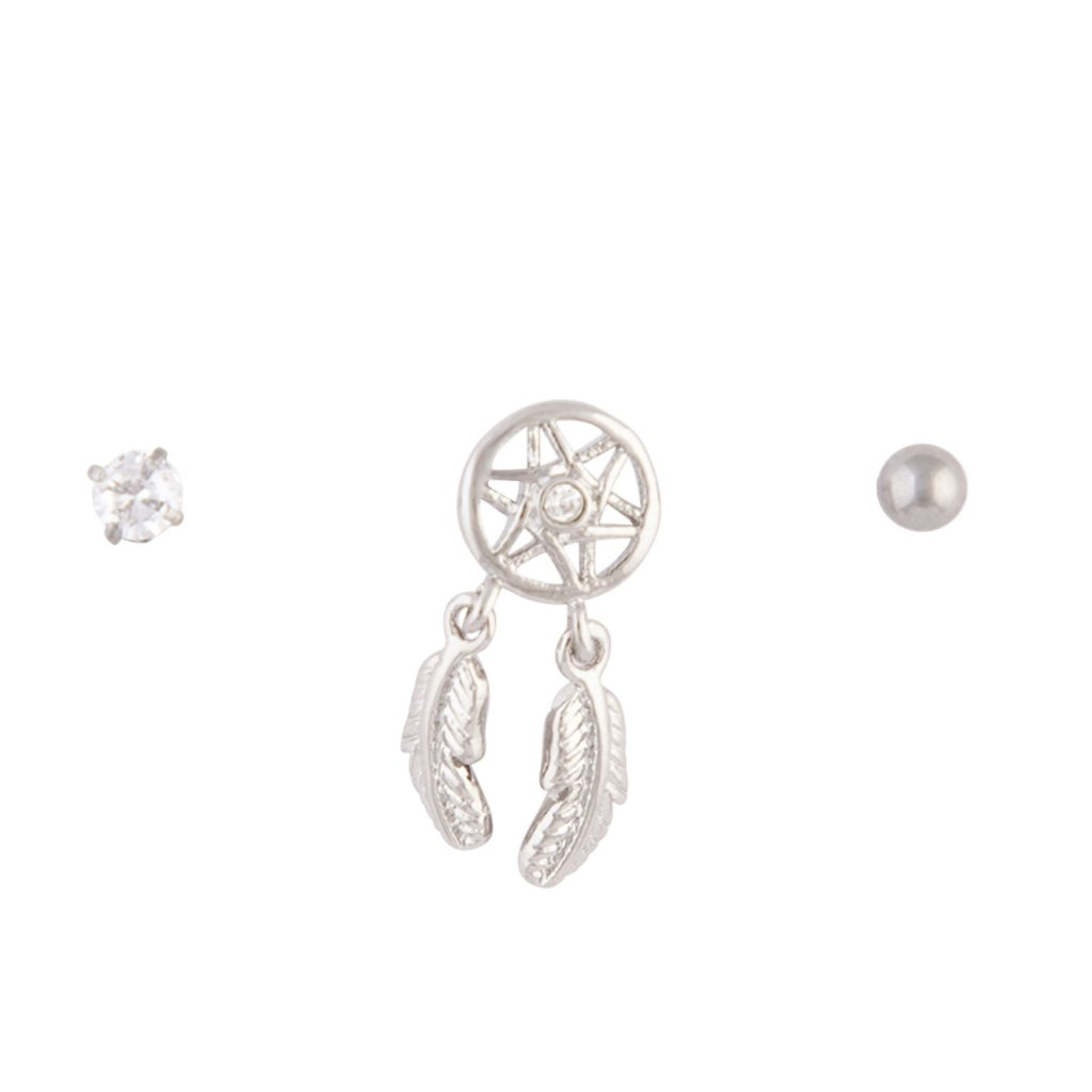 Rhodium Dreamcatcher Barbell 3 Pack
