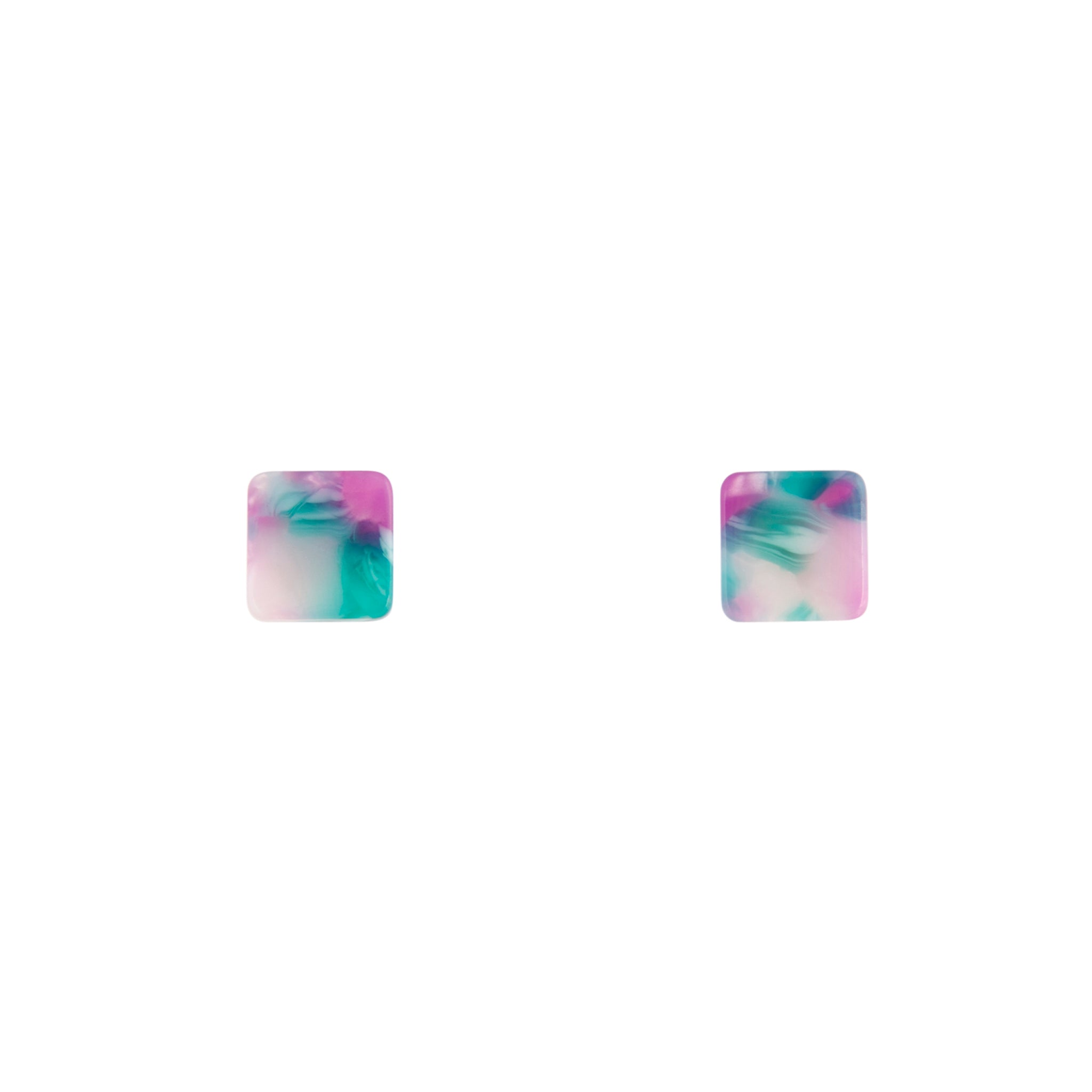 Rainbow Multi Resin Square Earrings