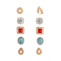 Mixed Metal Bohemian Stone Clip-On Earring Pack