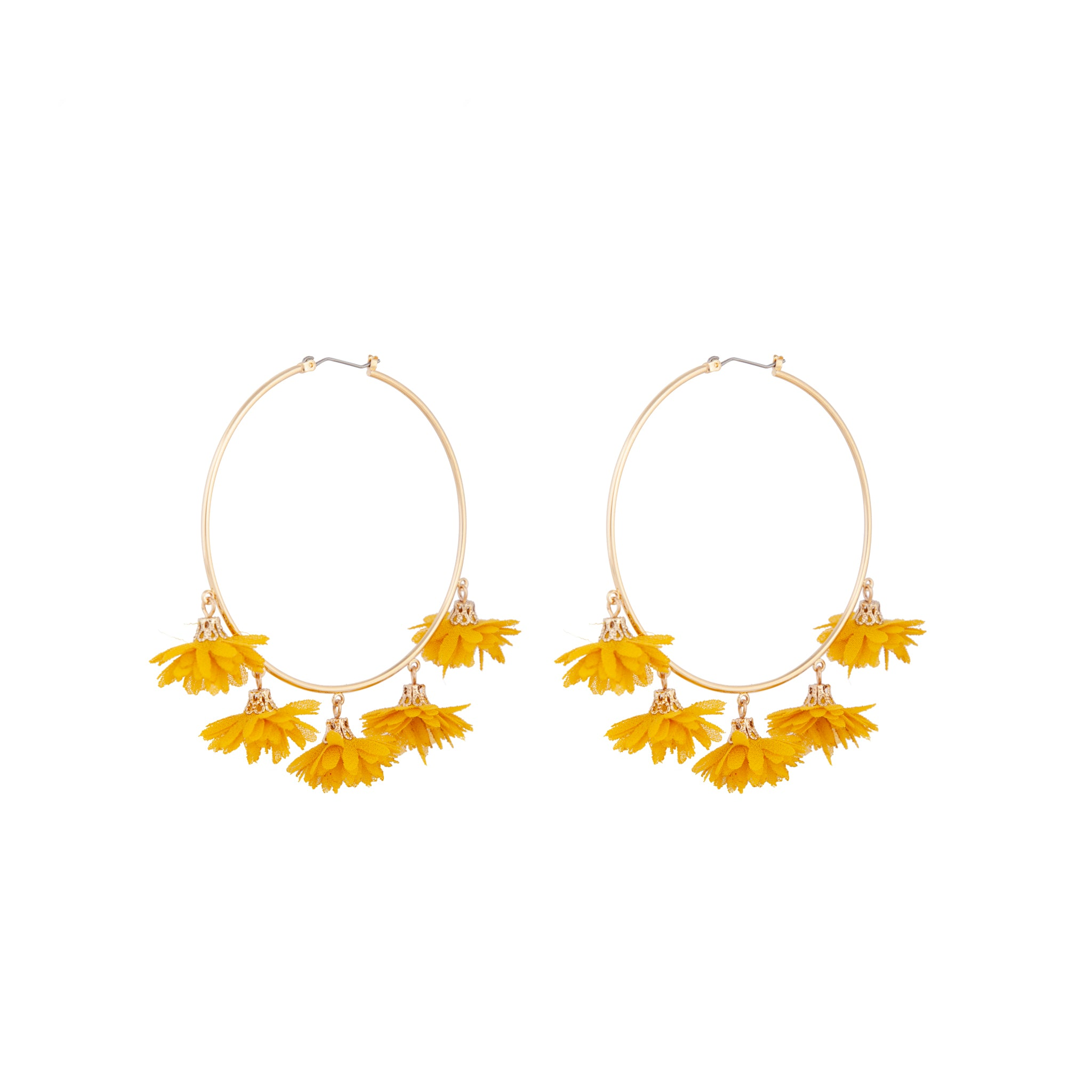 Yellow Gold Large Fabric Flower Hoop Earrings