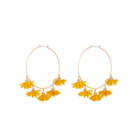 Yellow Gold Large Fabric Flower Hoop Earrings - link has visual effect only