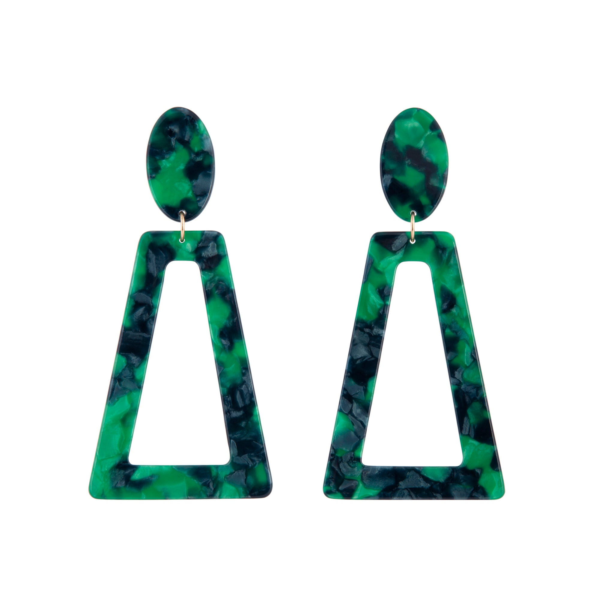 Deep Green Acrylic Oval Top Earring
