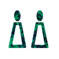 Deep Green Acrylic Oval Top Earring - link has visual effect only