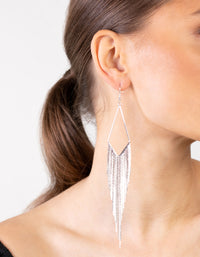 Silver Kite Fringe Chain Earrings - link has visual effect only