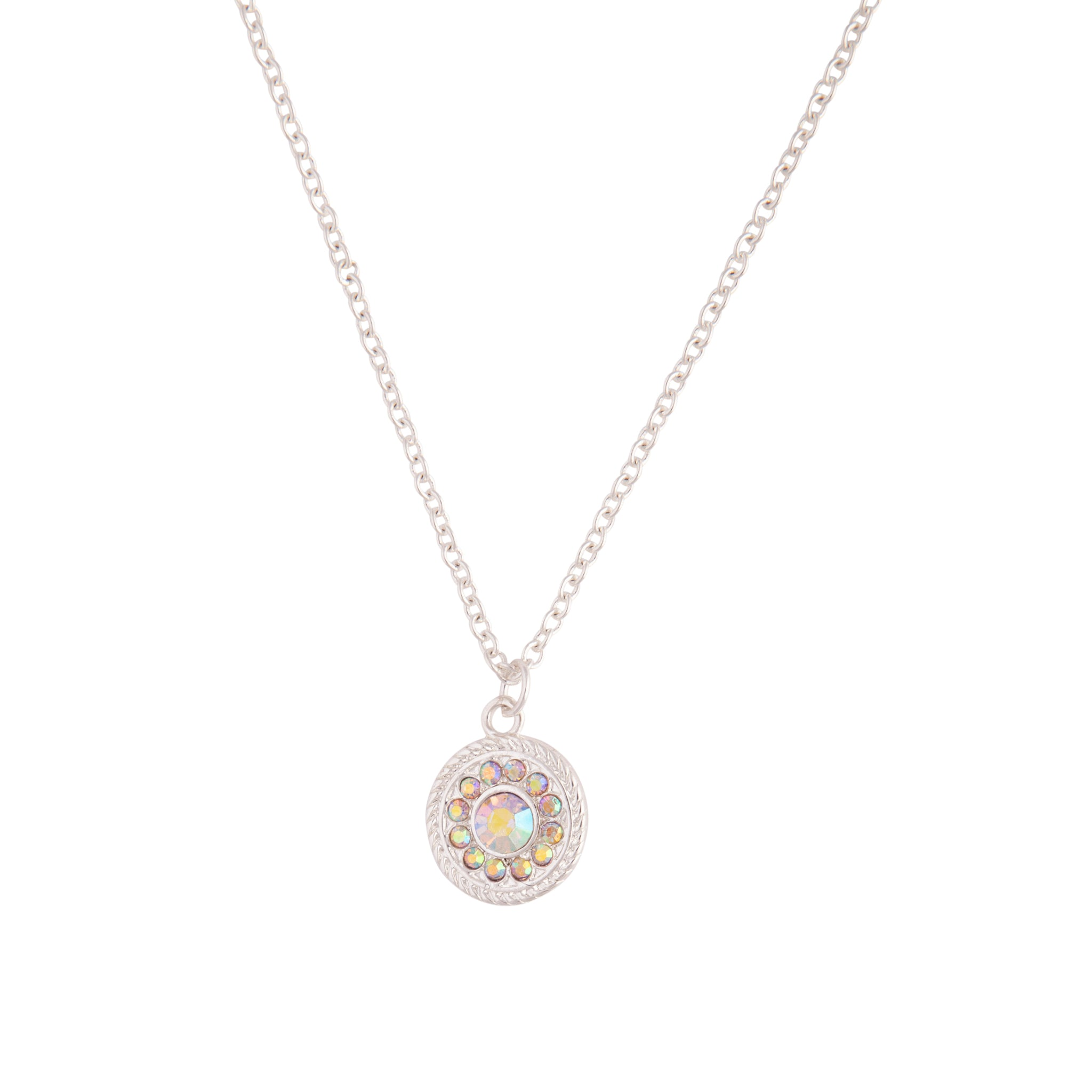 Silver Diamante Disc Charm Necklace