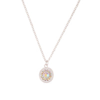 Silver Diamante Disc Charm Necklace - link has visual effect only