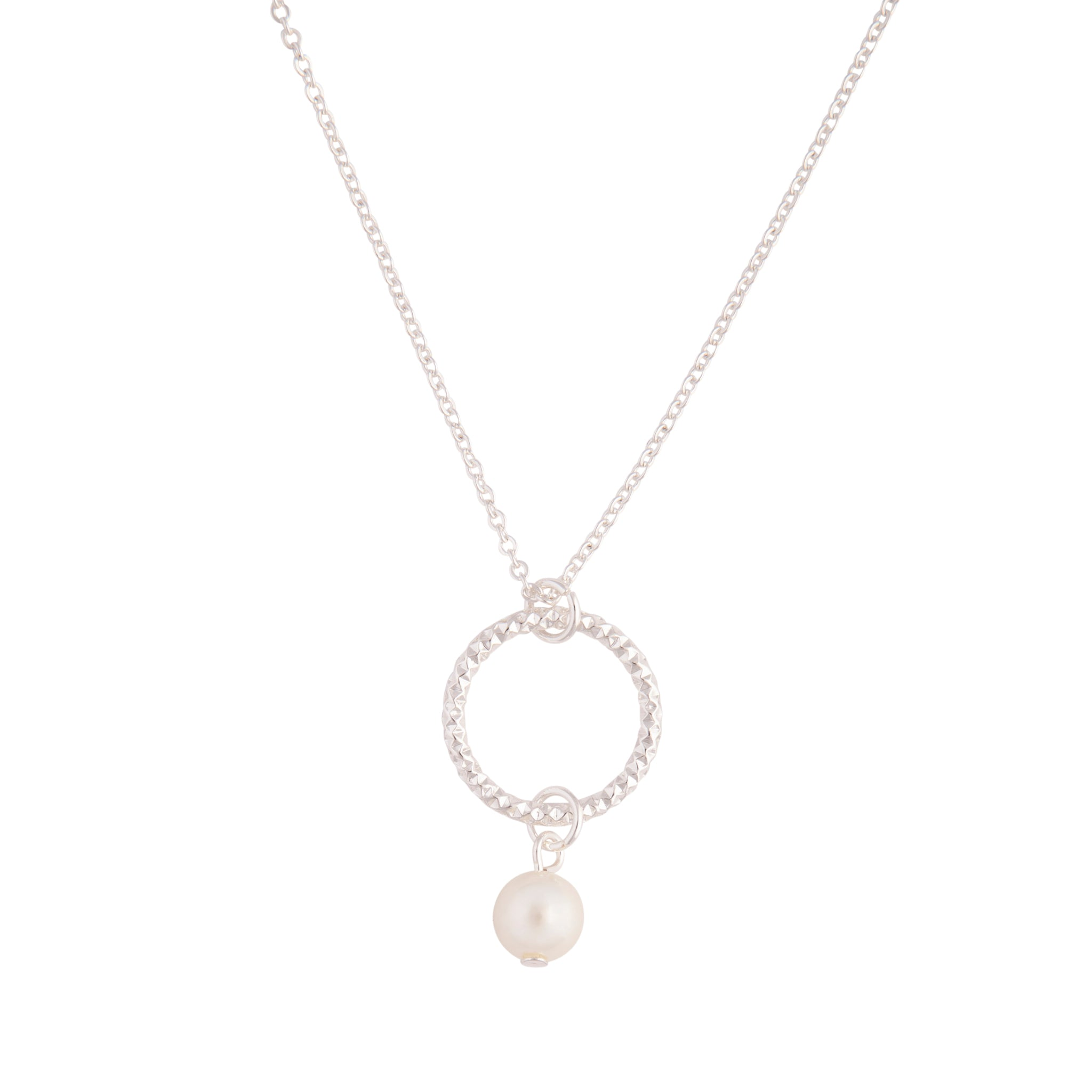Silver Pearl Circle Pendant Necklace