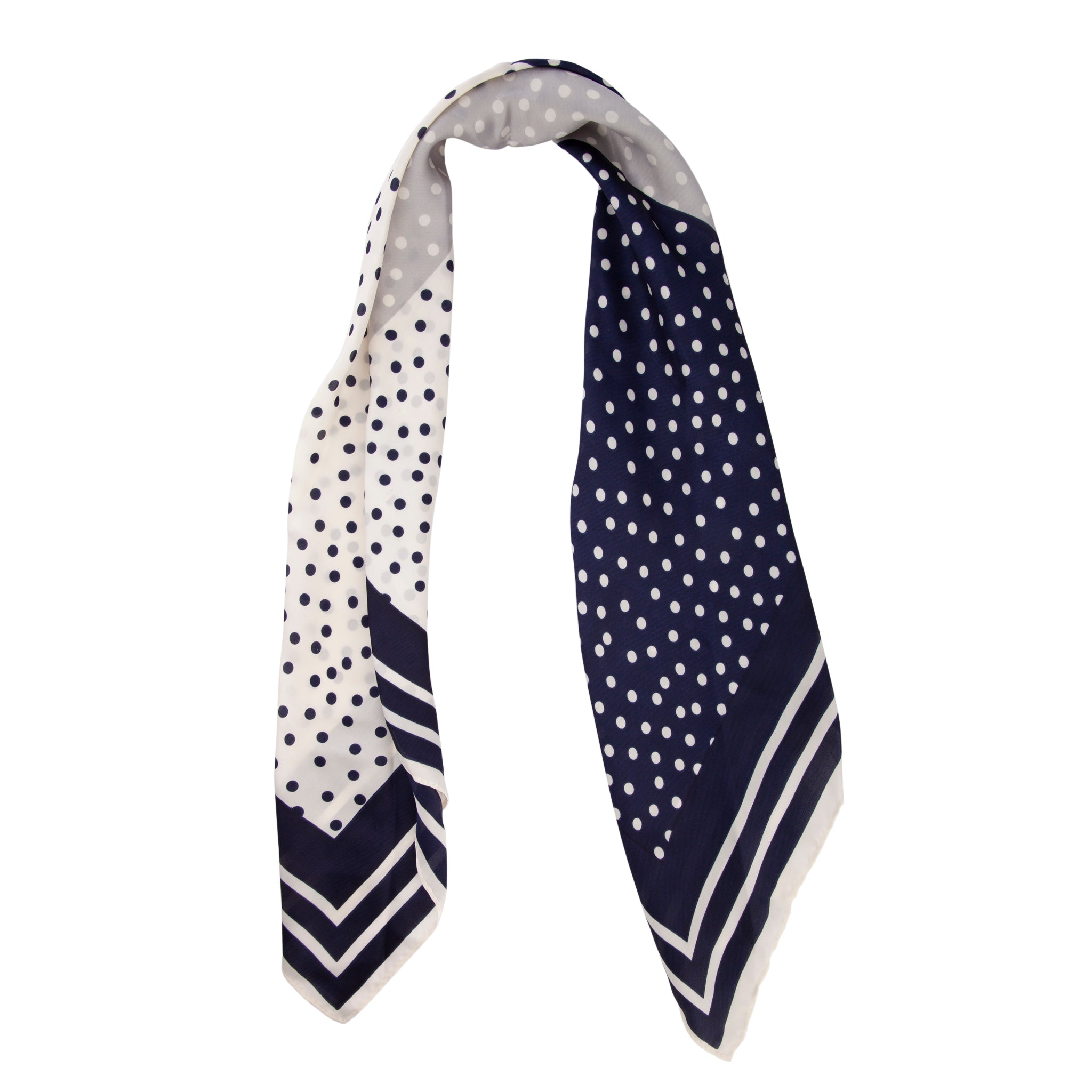 Navy Square Stripe Pattern Scarf