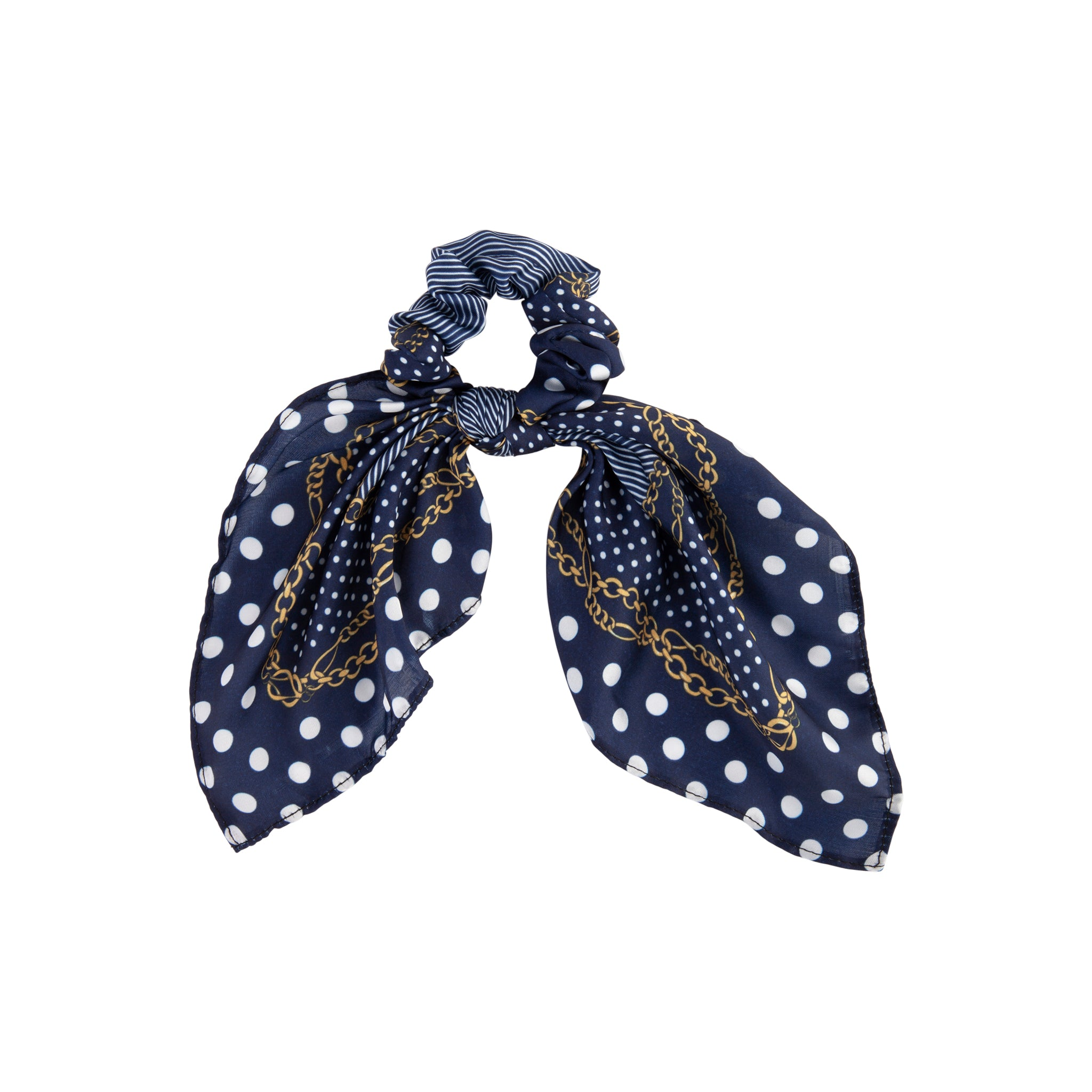 Blue Chain White Dot Scarf Scrunchie