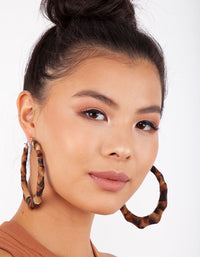 Brown Animal Fabric Wrap Hoop Earring