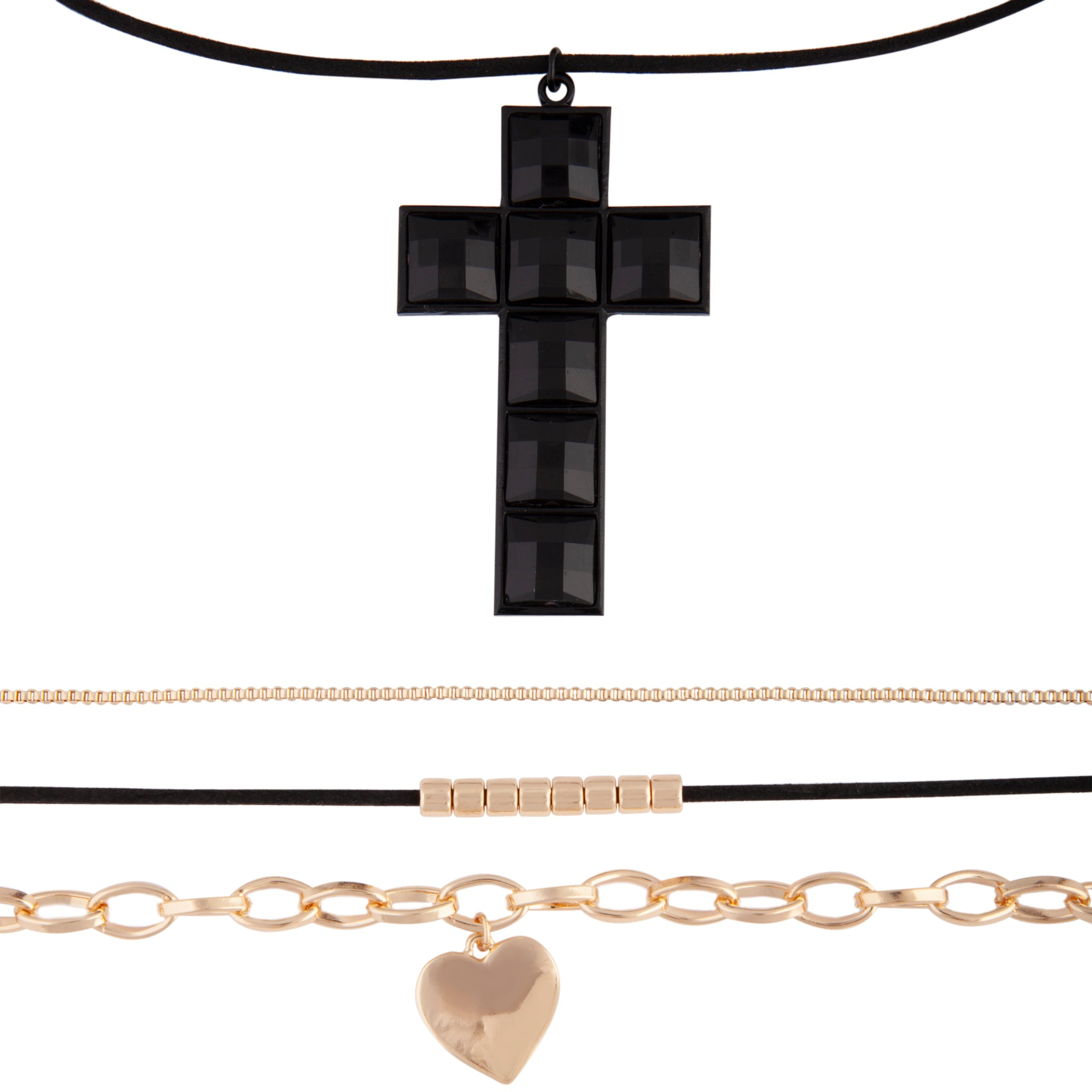 Gold Black Wrap Cross Choker Pack