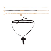 Gold Black Wrap Cross Choker Pack - link has visual effect only