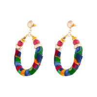 Multi Drop Circle Fabric Wrap Earring - link has visual effect only