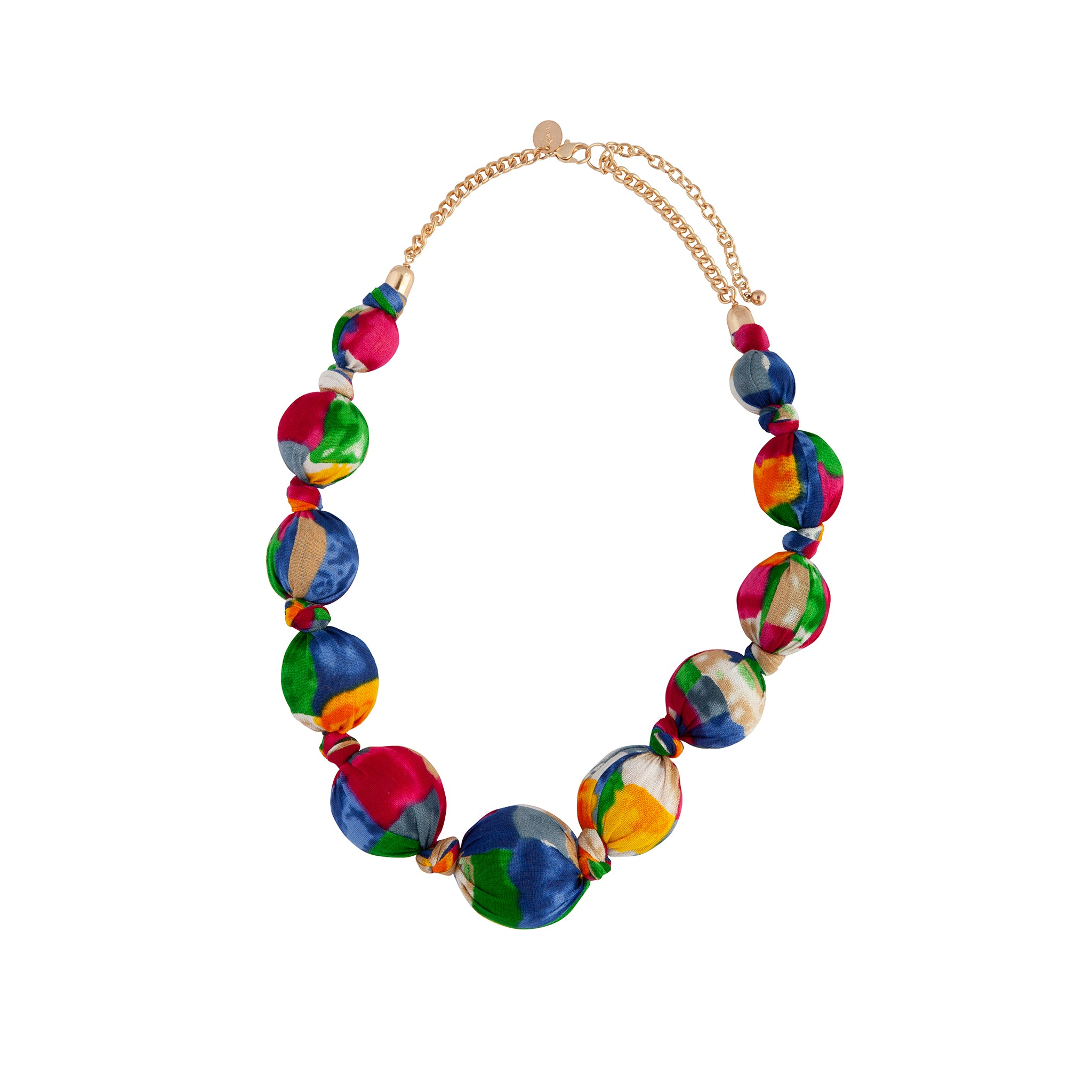 Rainbow Fabric Covered Ball Necklace