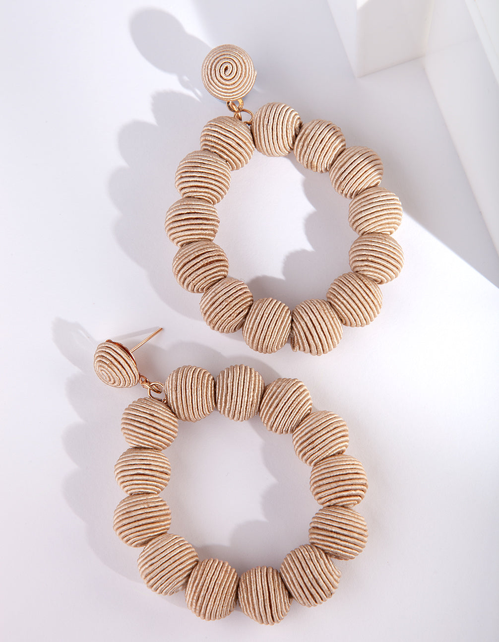 Beige Cord Wrap Ball Earrings