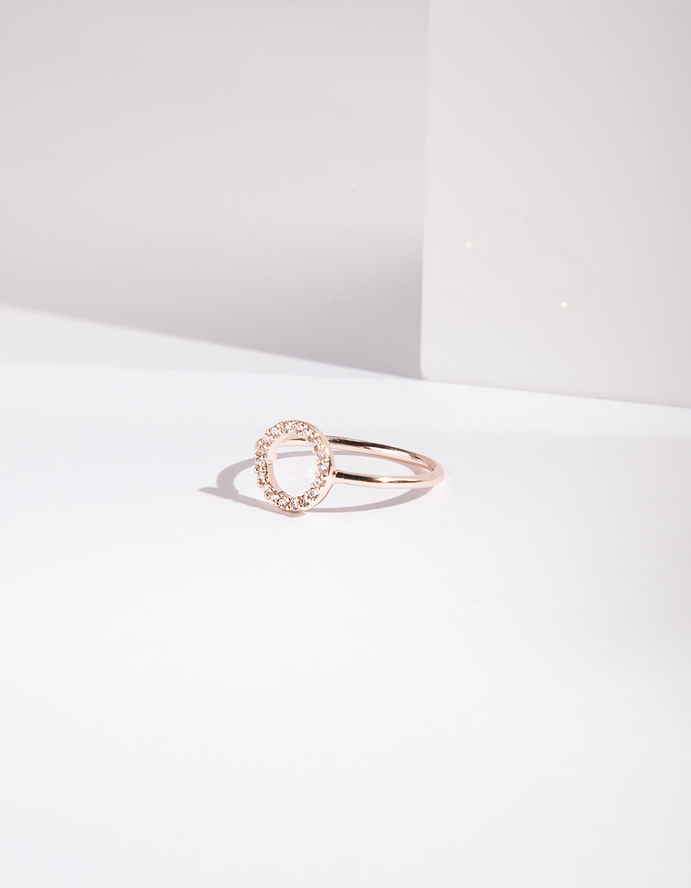 Rose Gold Open Circle Cubic Zirconia Ring
