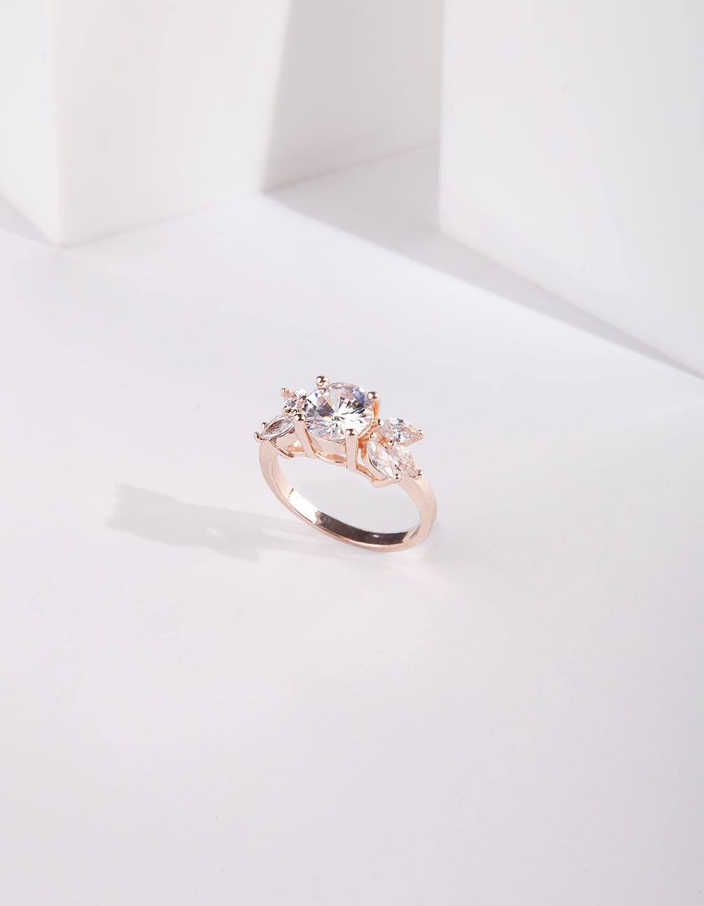 Rose Gold Cubic Zirconia Navette Ring