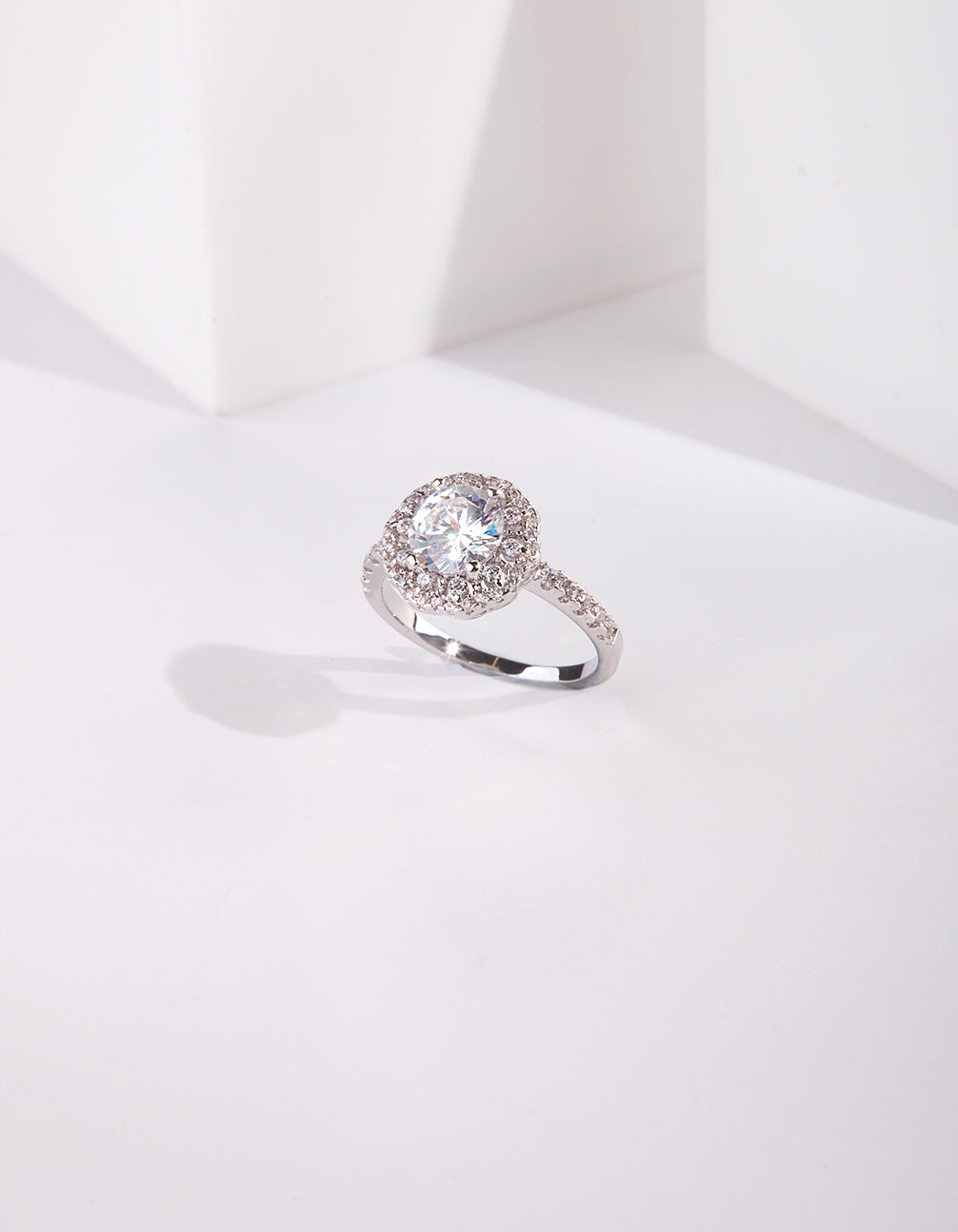 Rhodium Engagement Surround Cubic Zirconia Ring