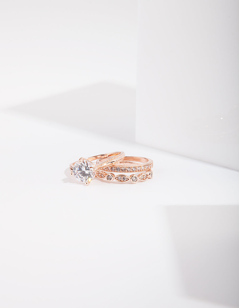 Rose Gold Round Stone Triple Band Ring