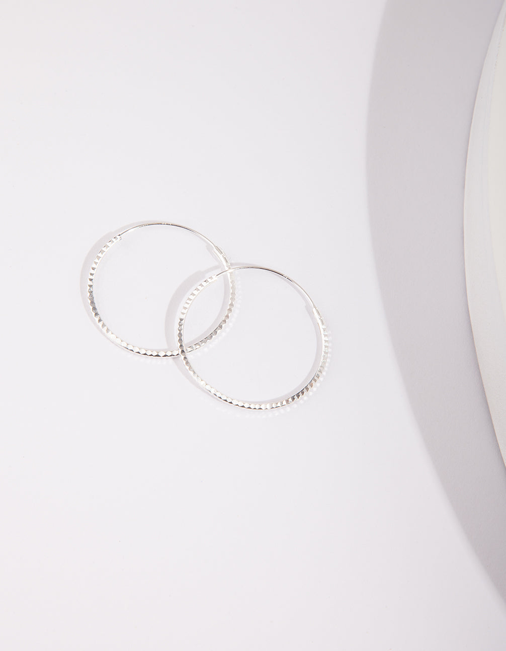 Sterling Silver 25mm Texture Hoop Earrings