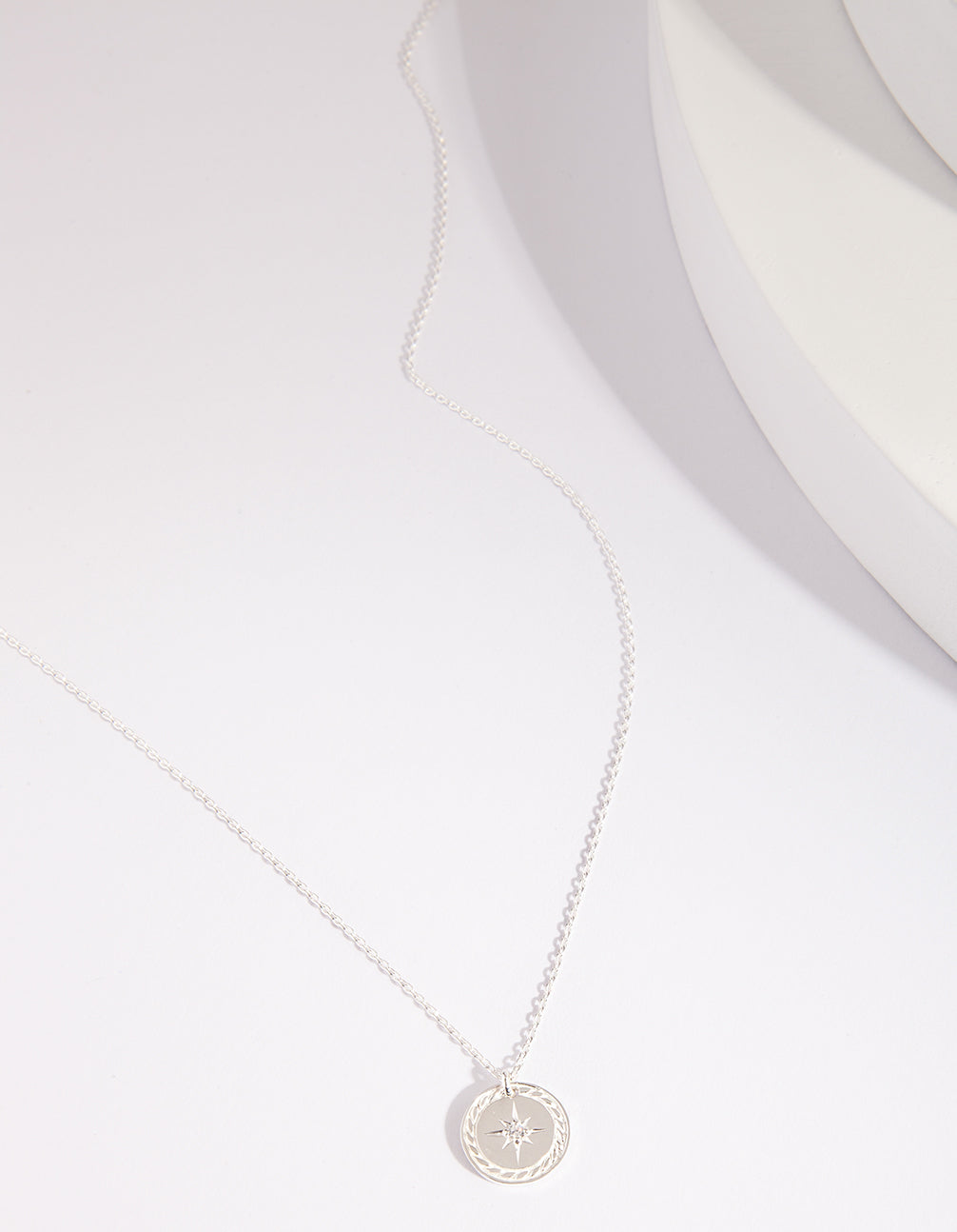 Sterling Silver Diamante Compass Necklace