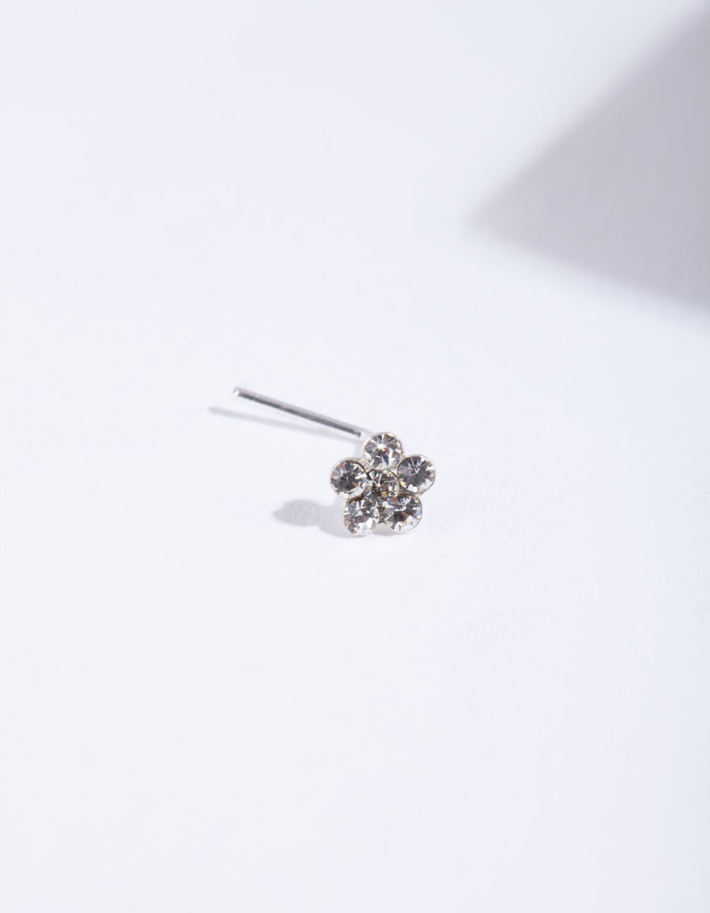 Sterling Silver Crystal Flower Nose Stud