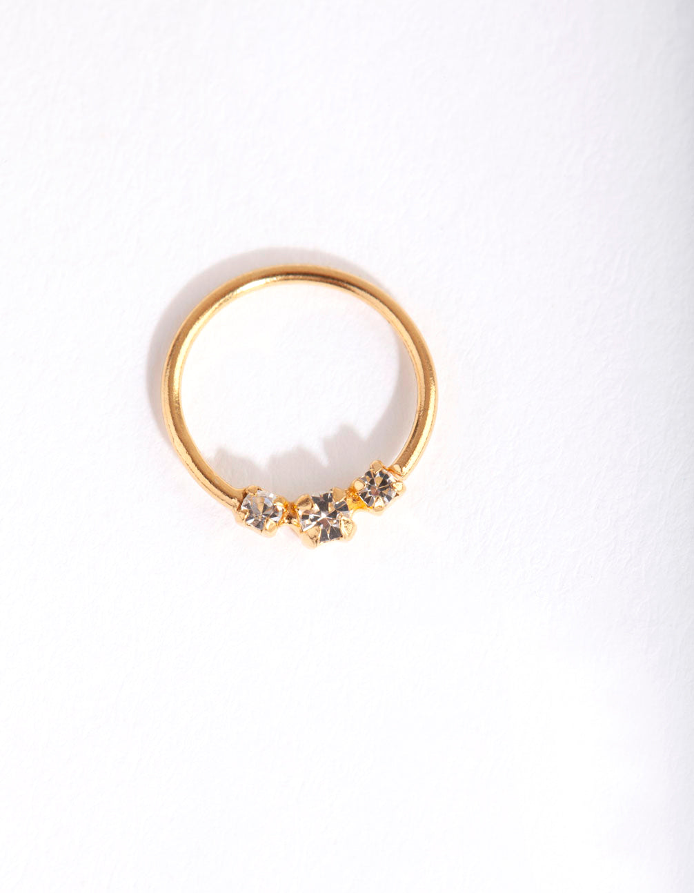 Gold Plated Sterling Silver Triple Diamante Nose Ring