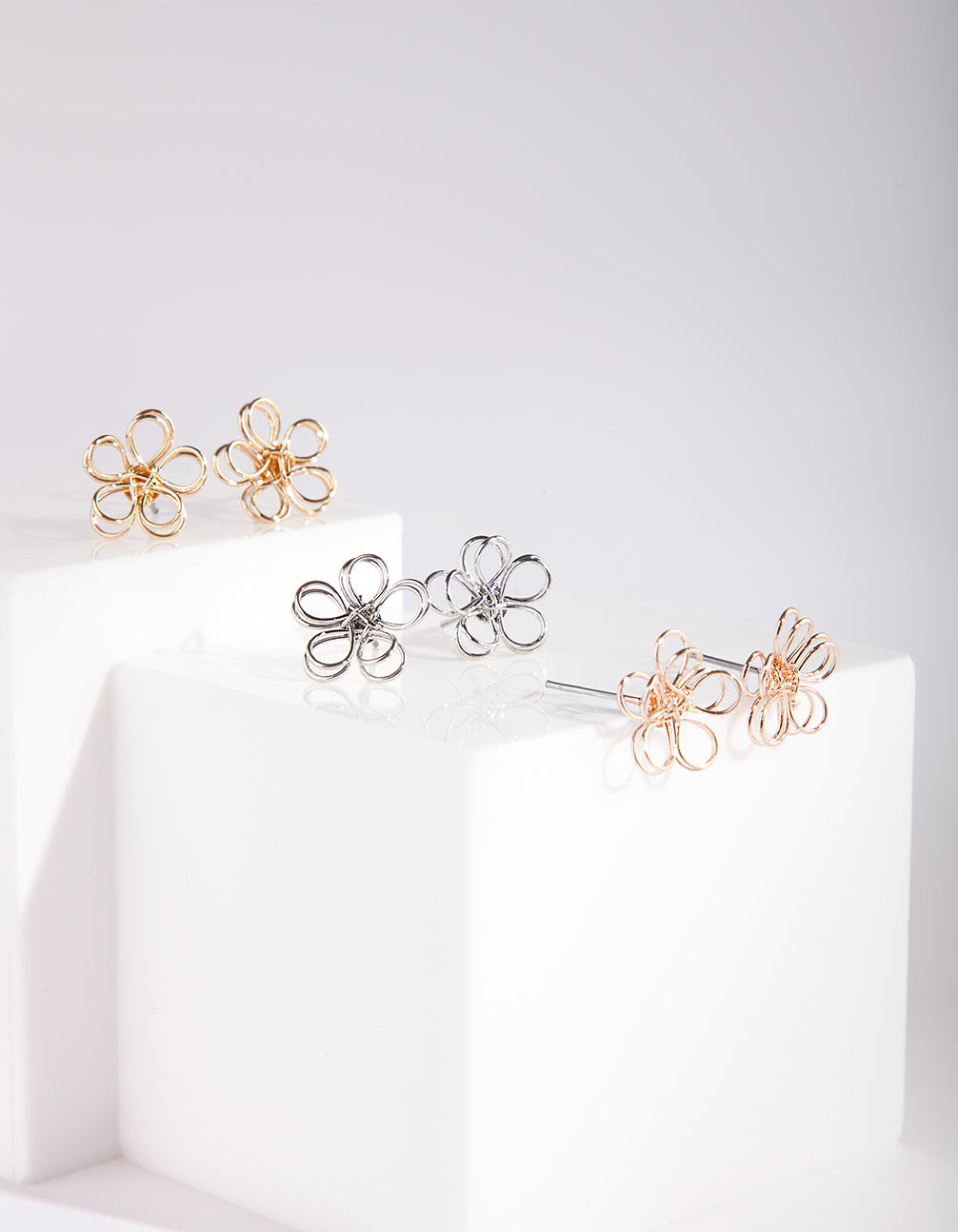 Mixed Metal Wire Flower Earring Pack