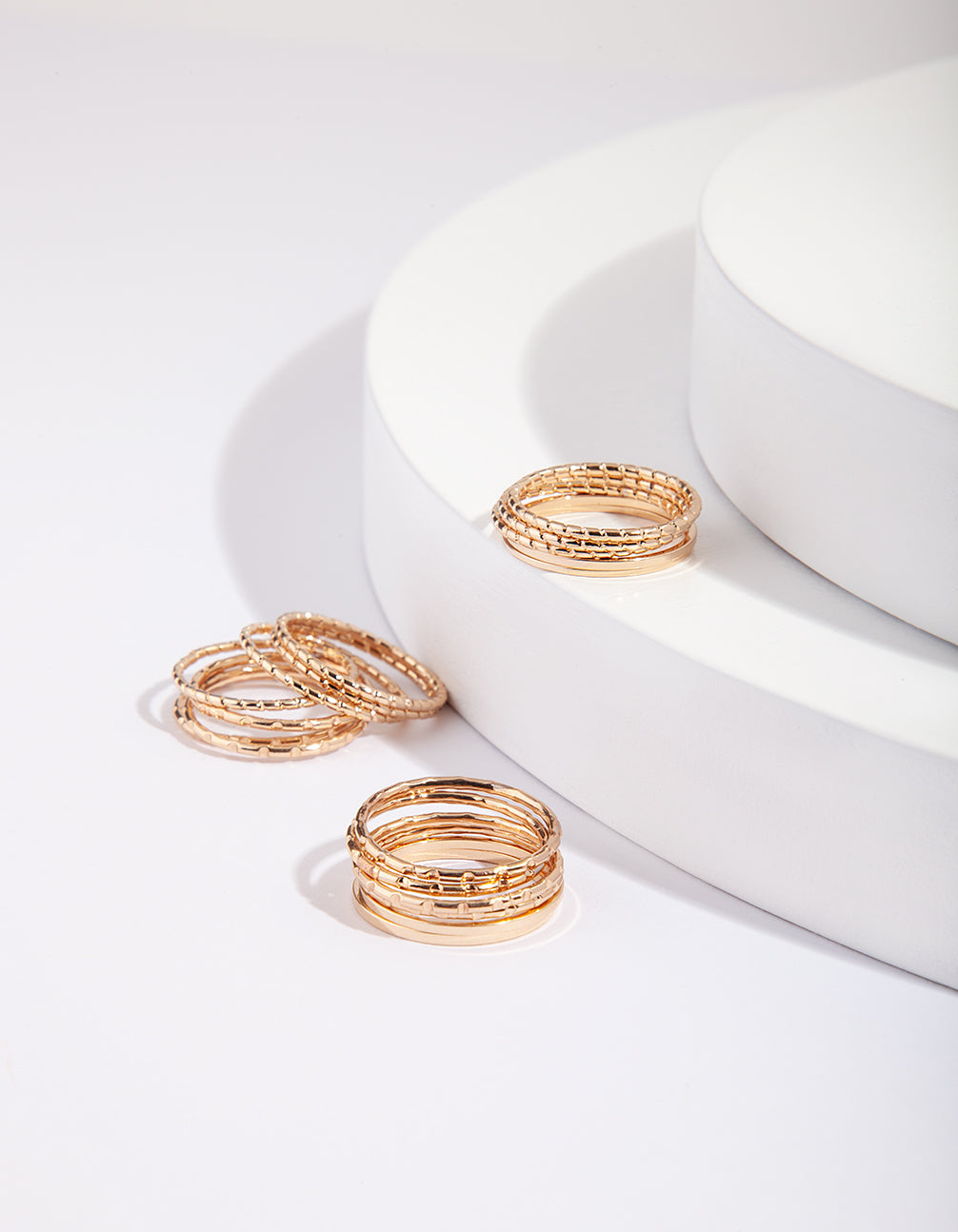 Gold Textured Band Ring Pack
