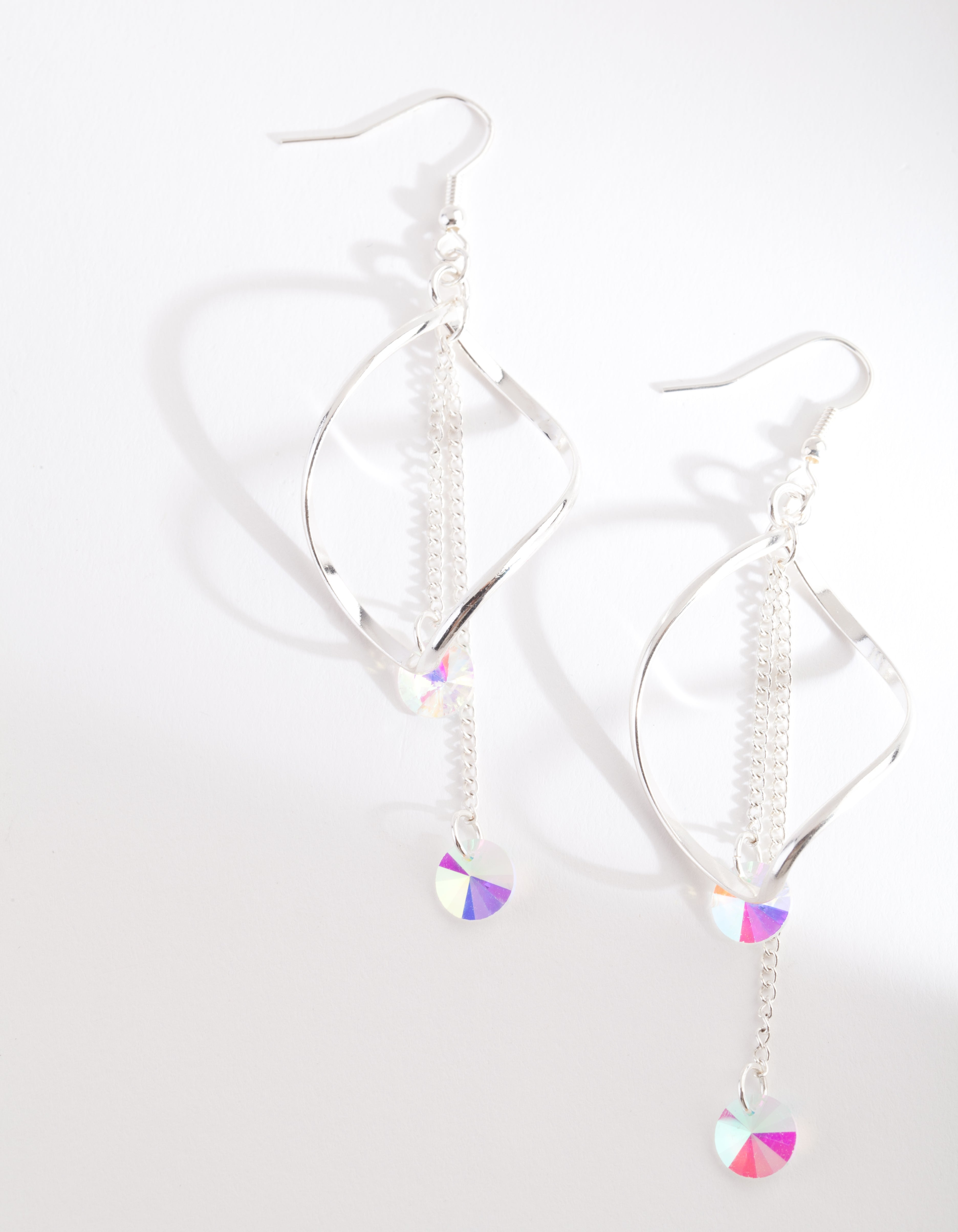 Silver Crystal Curl Drop Earring