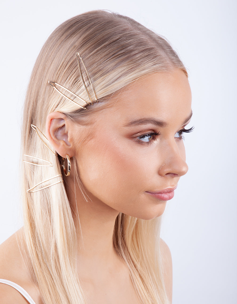 Gold Zig Zag Hair Clip 6 Pack